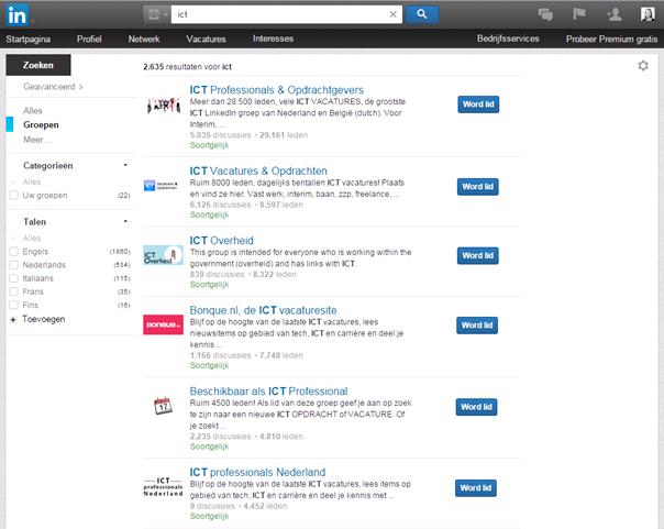 Een zoekresultatenscherm voor de zoekterm 'ICT' binnen de categorie 'Groepen'.